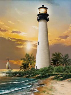 Cape Florida Lighthouse Seascape / Coastal Living Jigsaw Puzzle