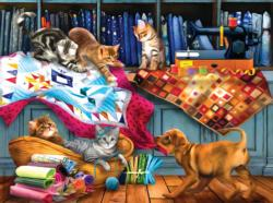 Quilting Room Mischief Dogs Jigsaw Puzzle