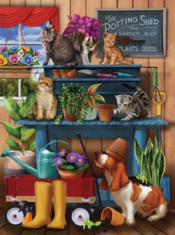 Trouble in the Potting Shed Dogs Jigsaw Puzzle