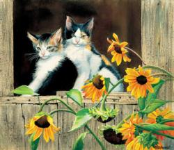 Kittens and Sunflowers Sunflower Jigsaw Puzzle