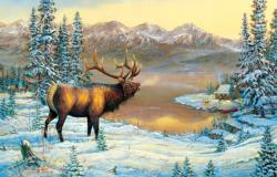 Elk By The Cabin Winter Jigsaw Puzzle