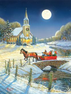 Evening Sleigh Churches Jigsaw Puzzle