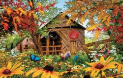 Autumn Red and Gold Flowers Jigsaw Puzzle