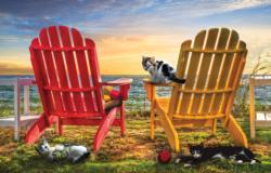 Cat Nap at the Beach Seascape / Coastal Living Jigsaw Puzzle