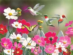 Cosmos and Hummingbirds Birds Jigsaw Puzzle