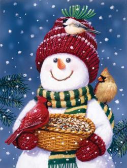 Snowman Bird Feeder Snowman Jigsaw Puzzle