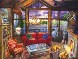 Evening at the Cabin Cottage / Cabin Jigsaw Puzzle