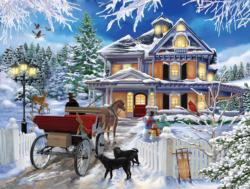 Winter Visit Domestic Scene Jigsaw Puzzle