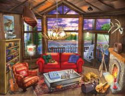 Evening at the Lake Cottage / Cabin Jigsaw Puzzle