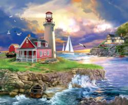 Sunset Point Lighthouse Sunrise / Sunset Jigsaw Puzzle