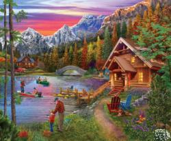Stone Bridge Lake Cottage / Cabin Jigsaw Puzzle