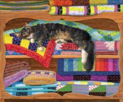 Quilt Cupboard Cats Jigsaw Puzzle
