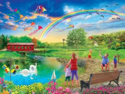 Colorful Skies Domestic Scene Jigsaw Puzzle