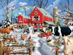 Winter Barn Farm Animals Jigsaw Puzzle