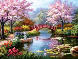 Japanese Garden in Bloom Bridges Jigsaw Puzzle