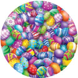Easter Eggs Easter Round Jigsaw Puzzle