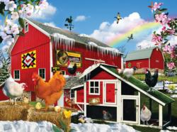 First Signs of Spring Chickens & Roosters Jigsaw Puzzle