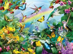 Hummingbird Sanctuary Flowers Jigsaw Puzzle