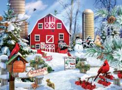 A Snowy Day on the Farm Winter Jigsaw Puzzle