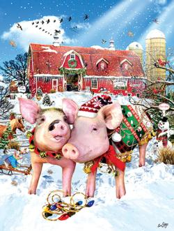 Christmas Sweater Pig Jigsaw Puzzle