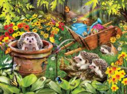 Hedgehogs and Bees Flowers Jigsaw Puzzle