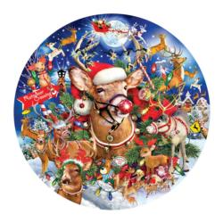 Reindeer Madness Christmas Round Jigsaw Puzzle