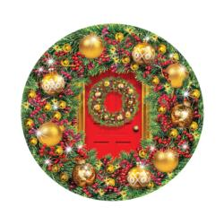 Green and Gold Wreath Christmas Round Jigsaw Puzzle