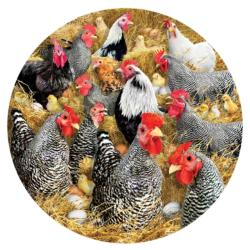 Chickens and Chicks Chickens & Roosters Round Jigsaw Puzzle