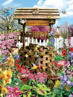 Birds at the Wishing Well Flowers Jigsaw Puzzle