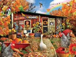 Chickens Crossing Sunflower Jigsaw Puzzle