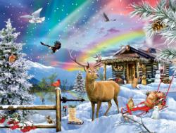 Winter In The Mountains Cottage / Cabin Jigsaw Puzzle