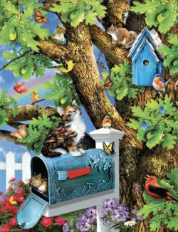 Kitty and Birdhouse Cats Jigsaw Puzzle