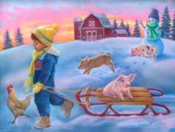 Snow Day on the Farm Pig Jigsaw Puzzle