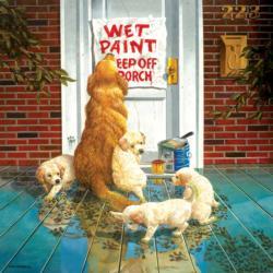 Wet Paint Dogs Jigsaw Puzzle