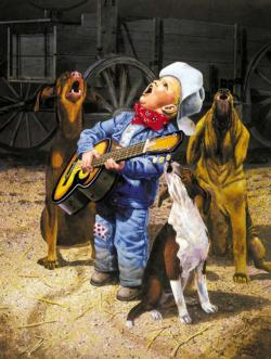Singing Cowboy Americana & Folk Art Jigsaw Puzzle