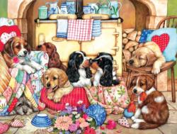 Puppies in the Kitchen Domestic Scene Jigsaw Puzzle