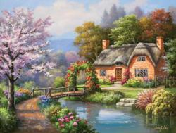 Spring Creek Cottage Domestic Scene Jigsaw Puzzle