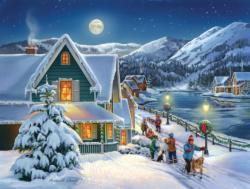 Snow Moon Domestic Scene Jigsaw Puzzle