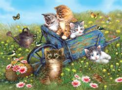 Kittens on a Field Trip Flowers Jigsaw Puzzle