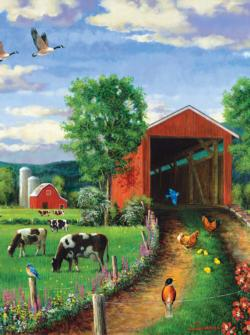 Chickens At the Bridge Bridges Jigsaw Puzzle