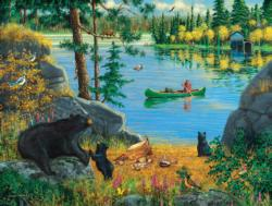 Bear Family Picnic Lakes / Rivers / Streams Jigsaw Puzzle