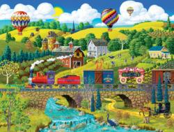 Big Top Circus Train Americana & Folk Art Jigsaw Puzzle