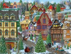 Winter Village Square Winter Large Piece