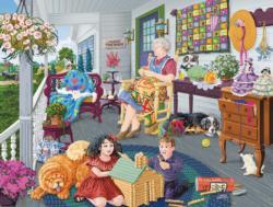 A Visit to Grandma's Domestic Scene Jigsaw Puzzle