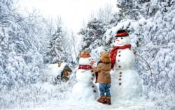 Visiting the Snow Family Winter Jigsaw Puzzle