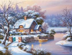 Frosty Winter Evening - Scratch and Dent Domestic Scene Jigsaw Puzzle