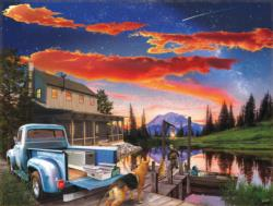 Red Skies Cottage / Cabin Jigsaw Puzzle