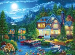 House Near the Lake Domestic Scene Jigsaw Puzzle