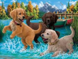 Puppies Make a Splash Lakes / Rivers / Streams Jigsaw Puzzle