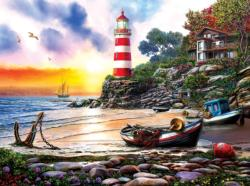 Lighthouse Harbor Seascape / Coastal Living Jigsaw Puzzle